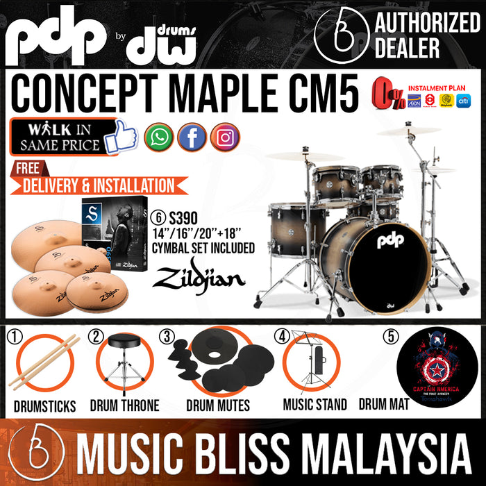 PDP by DW CM5 Concept Maple Shell Pack - 5-piece with ZILDJIAN S390 Cymbal Set - Music Bliss Malaysia