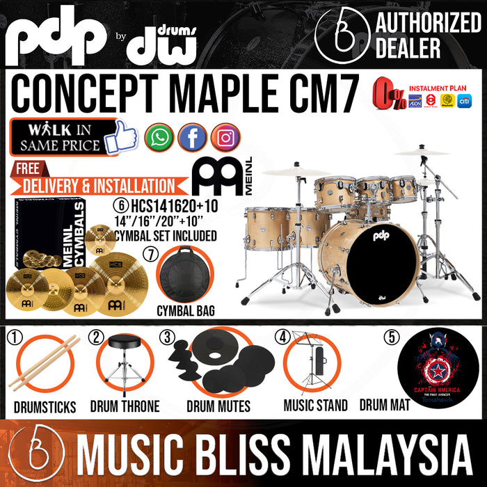 PDP by DW CM7 Concept Maple Shell Pack - 7-piece with MEINL Cymbal Set - Music Bliss Malaysia