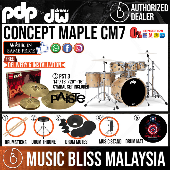 PDP by DW CM7 Concept Maple Shell Pack - 7-piece with PAISTE PST 3 Cymbal Set - Music Bliss Malaysia