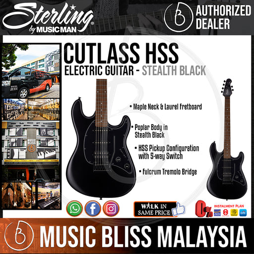 Sterling Cutlass HSS Electric Guitar - Stealth Black - Music Bliss Malaysia