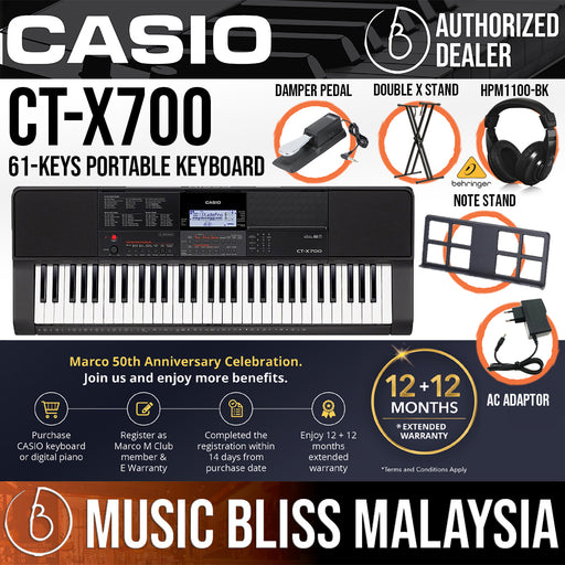 Casio CT-X700 61-Keys Portable Keyboard with Stand, Bag, Bench, Headphone, Sustain Pedal & Dust Cover (CTX700)