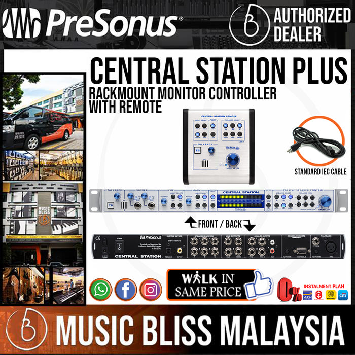 PreSonus Central Station Plus Rackmount Monitor Controller with Remote - Music Bliss Malaysia