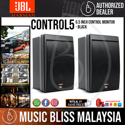JBL Control 5 6.5 inch Control Monitor - Black (Pair) (Control5) - Music Bliss Malaysia