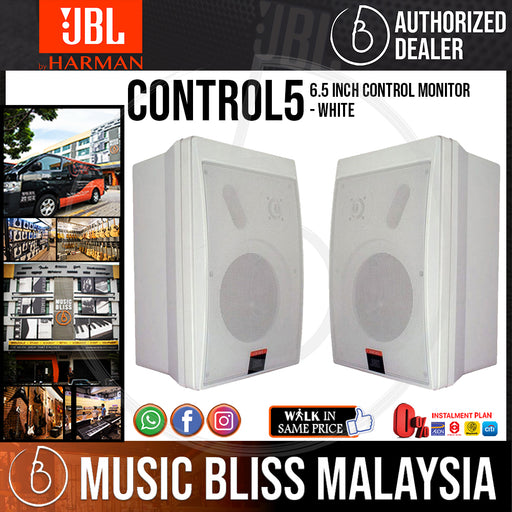 JBL Control 5 6.5 inch Control Monitor - White (Pair) (Control5) - Music Bliss Malaysia