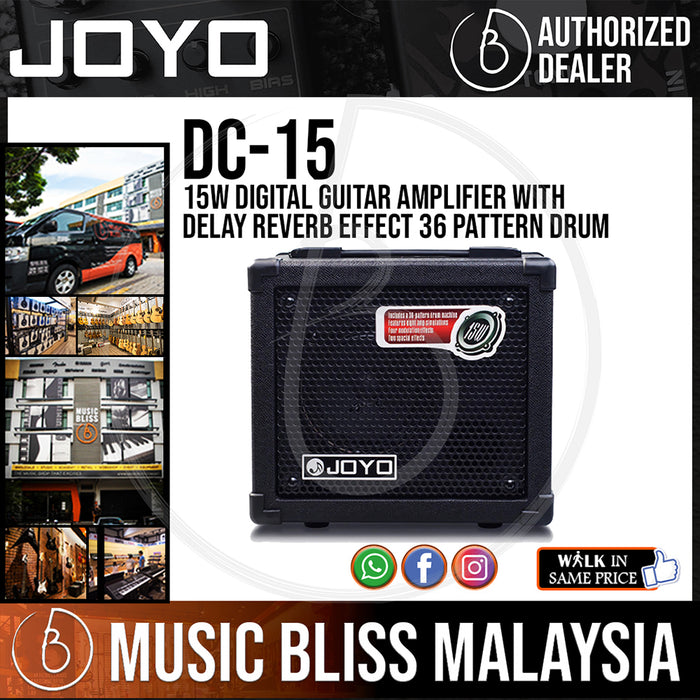 Joyo DC-15 15W Digital Guitar Amplifier with Delay Reverb Effect 36 Pattern Drum (DC15) *Crazy Sales Promotion*