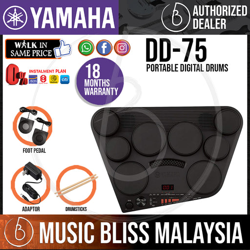Yamaha DD75 Portable Digital Drums with Adapter (DD-75 / DD 75) *Crazy Sales Promotion* - Music Bliss Malaysia