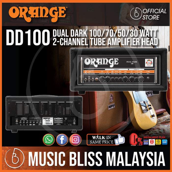 Orange DD100 Dual Dark 100 100/70/50/30-watt 2-channel Tube Amplifier Head - Music Bliss Malaysia