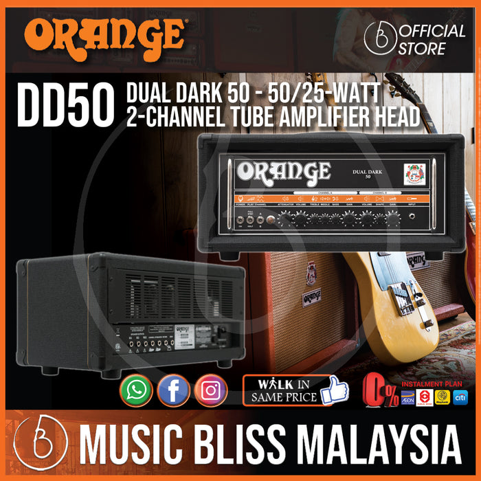 Orange DD50 Dual Dark 50 50/25-watt 2-channel Tube Amplifier Head - Music Bliss Malaysia