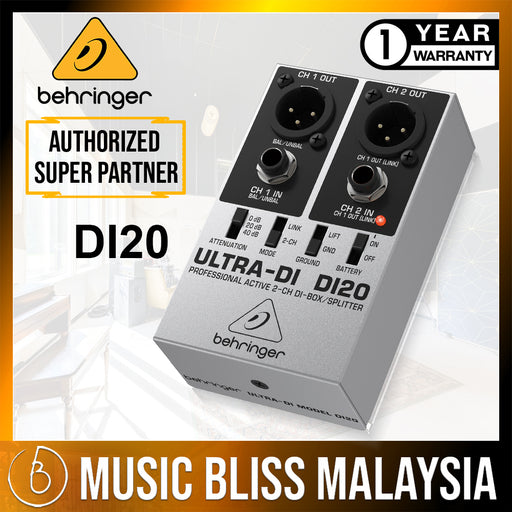 Behringer Ultra-DI DI20 2-channel Active Direct Box / Splitter (DI-20) *Crazy Sales Promotion* - Music Bliss Malaysia