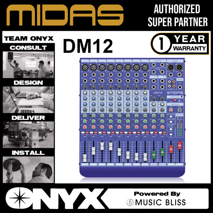 Midas DDA DM12 12-channel Mixer with Midas Microphone Preamplifiers (DM-12) *Everyday Low Prices Promotion*
