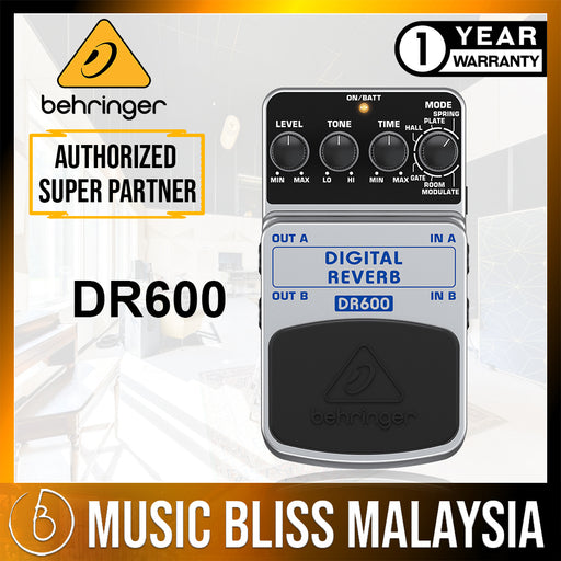 Behringer DR-600 Digital Reverb Guitar Effects Pedal (DR600) * Crazy Sales Promotion *