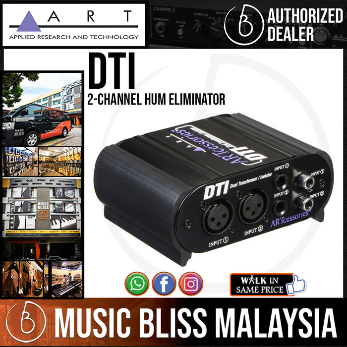 "ART DTI 2-channel Hum Eliminator with XLR, 1/4"", and RCA Inputs and Outputs - Music Bliss Malaysia"