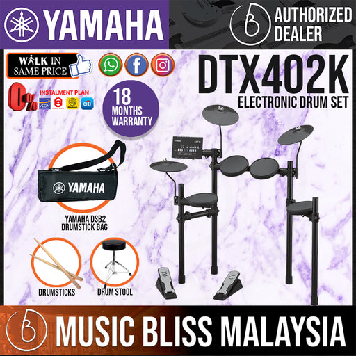 Yamaha Digital Drum DTX402K Electronic Drum Set with Stool and Drumsticks (DTX-402K / DTX 402K) *Crazy Sales Promotion* - Music Bliss Malaysia