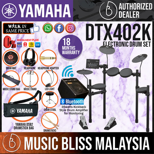 Yamaha Digital Drum DTX402K Electronic Drum Set with Amplifier, Headphone, Stool and Drumsticks (DTX-402K/DTX 402K) *Crazy Sales Promotion* - Music Bliss Malaysia