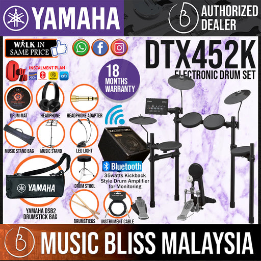 Yamaha Digital Drum DTX452K Electronic Drum Set with Amplifier, Headphone, Stool and Drumsticks (DTX-452K DTX452) *Crazy Sales Promotion* - Music Bliss Malaysia