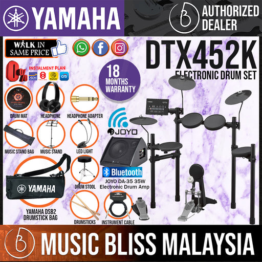 Yamaha Digital Drum DTX452K Electronic Drum Set with Joyo DA-35 Drum Amplifier, Headphone, Stool and Drumsticks (DTX-452K DTX452) *Crazy Sales Promotion* - Music Bliss Malaysia
