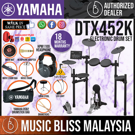 Yamaha Digital Drum DTX452K Electronic Drum Set with Headphone, Stool and Drumsticks (DTX-452K DTX452) *Crazy Sales Promotion* - Music Bliss Malaysia