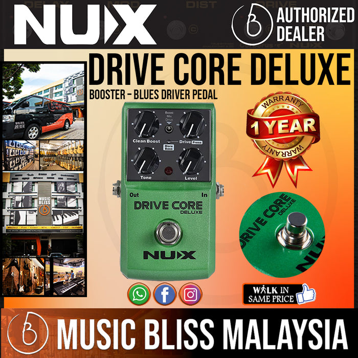 NUX Drive Core Deluxe Booster – Blues Driver Pedal - Music Bliss Malaysia