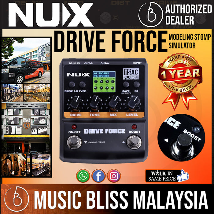 NUX Drive Force Modeling Stomp Simulator *Crazy Sales Promotion* - Music Bliss Malaysia