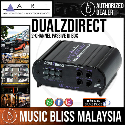 ART DUALZDirect 2-channel Passive DI Box for Active Bass, Electric and Acoustic Guitars - Music Bliss Malaysia