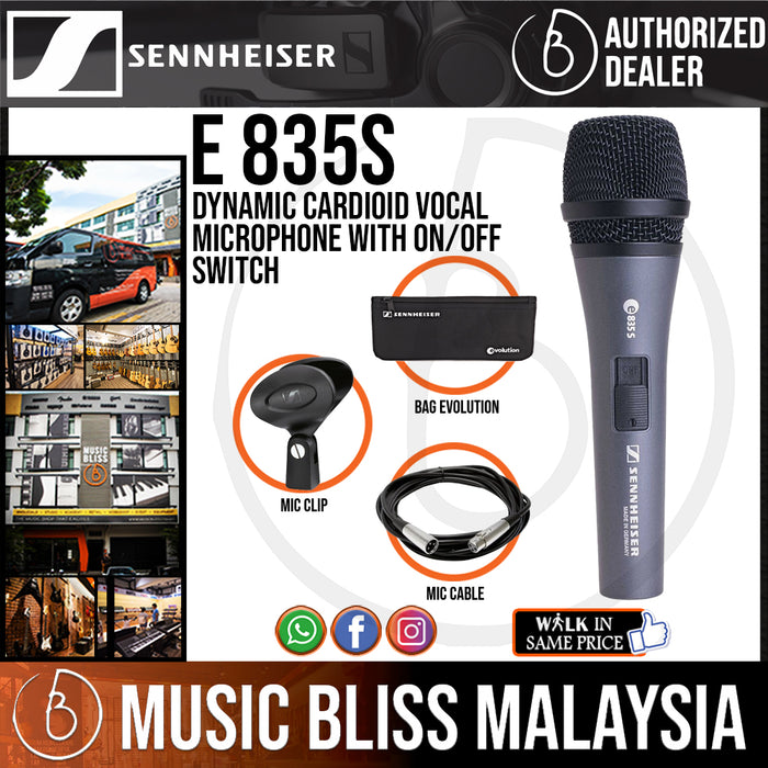 Sennheiser e 835-S Dynamic Cardioid Vocal Microphone with On/Off Switch with Free Mic Cable (e835S) *Price Match Promotion*