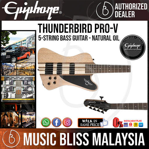 Epiphone Thunderbird Pro-V 5-String Bass Guitar, Natural Oil