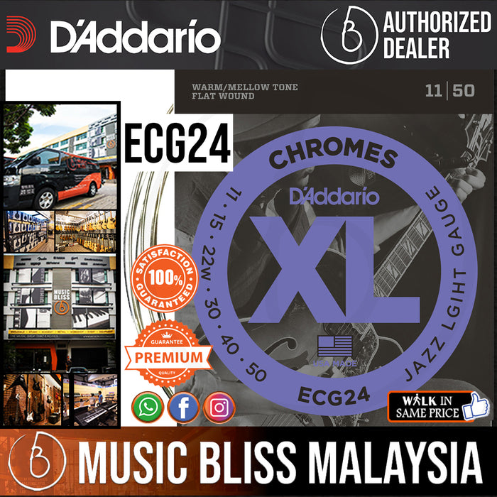 D'Addario ECG24 Chromes Flatwound Electric Strings -.011-.050 Jazz Light - Music Bliss Malaysia