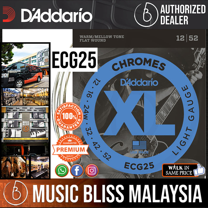 D'Addario ECG25 Chromes Flatwound Electric Strings -.012-.052 Light - Music Bliss Malaysia