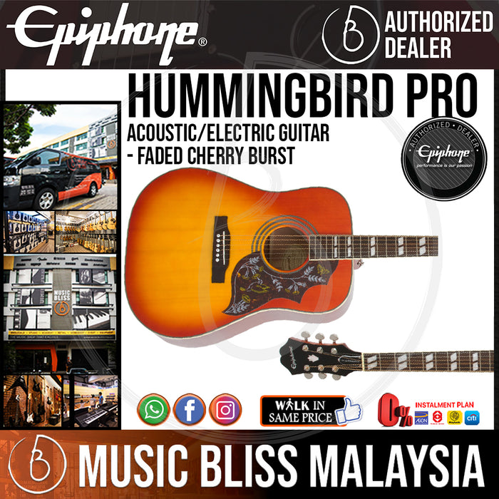 Epiphone Hummingbird Pro Acoustic-Electric Guitar - Faded Cherry Burst