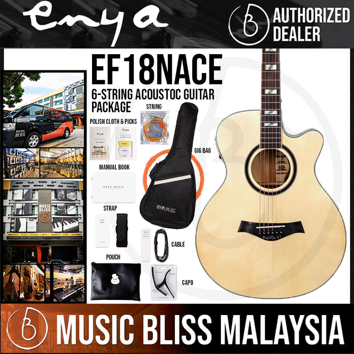Enya EF18NACE Folk Acoustic Guitar with EQ Package, Bag and Accessories Included *Crazy Sales Promotion* - Music Bliss Malaysia