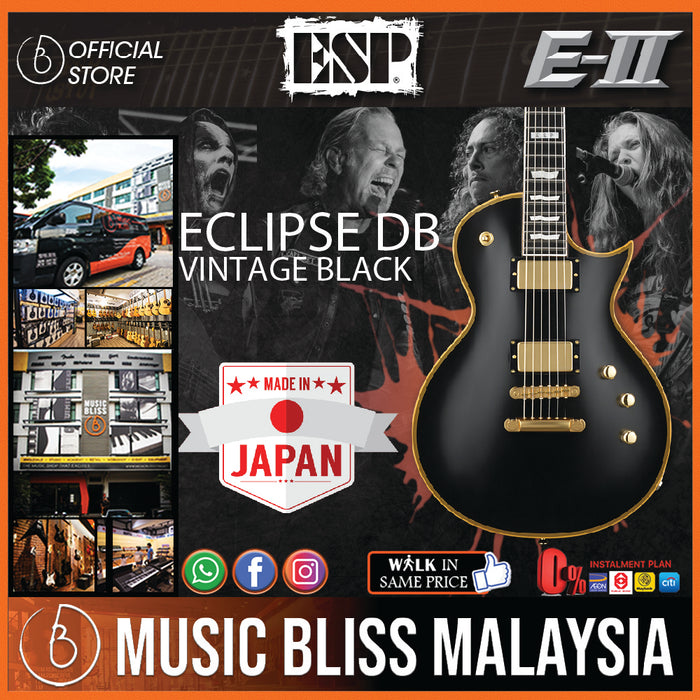 ESP E-II Eclipse DB - Vintage Black [Made in Japan] - Music Bliss Malaysia