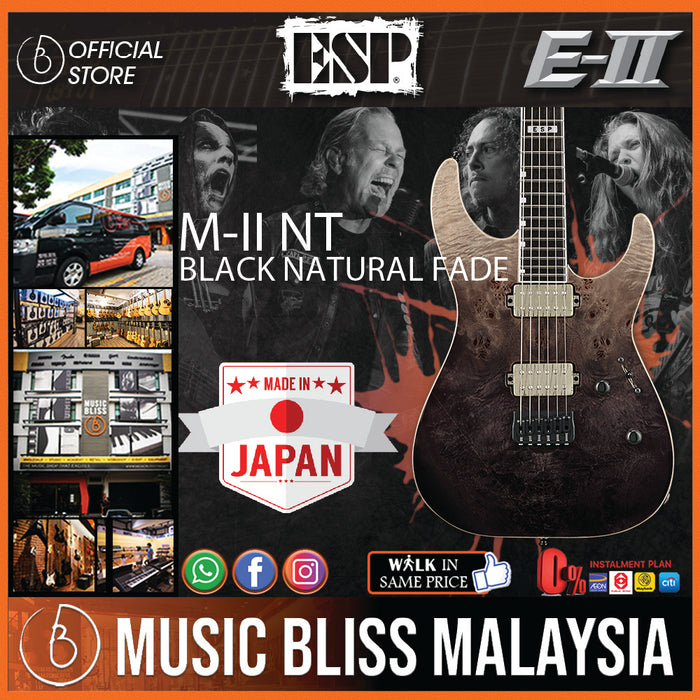 ESP E-II M-II NT - Black Natural Fade [Made in Japan] - Music Bliss Malaysia