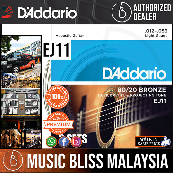 D'Addario EJ11 Light 80/20 Bronze Acoustic Strings - .012-.053 - Music Bliss Malaysia