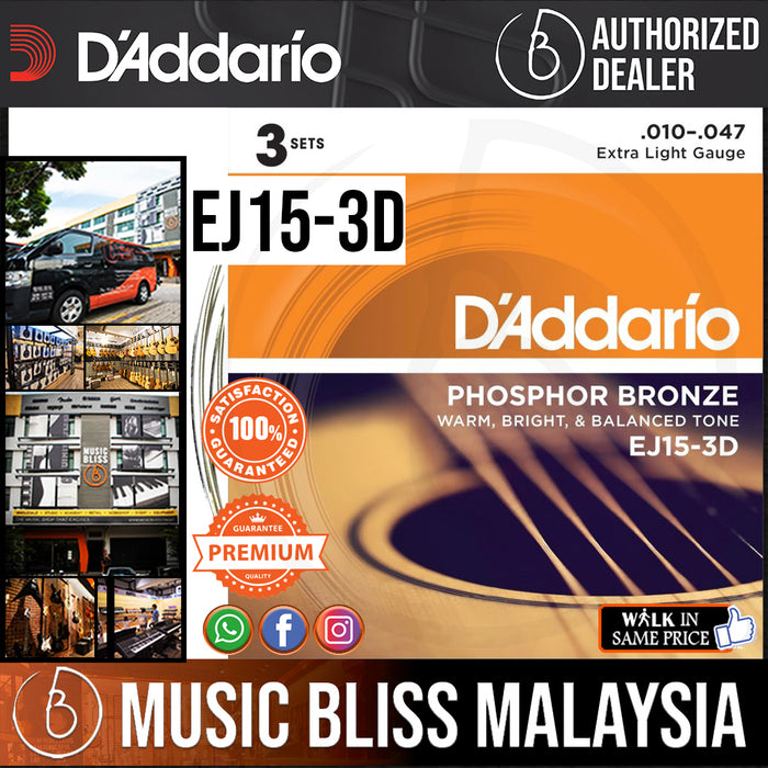 D'Addario EJ15-3D Phosphor Bronze Extra Light Acoustic Strings -.010-.047 (3-Pack) - Music Bliss Malaysia