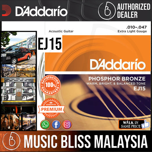 D'Addario EJ15 Phosphor Bronze Extra Light Acoustic Strings -.010-.047 - Music Bliss Malaysia
