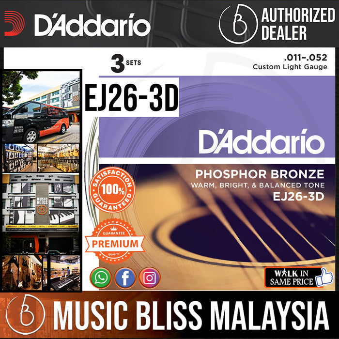 D'Addario EJ26 Phosphor Bronze Custom Light Acoustic Strings 3-Pack - Music Bliss Malaysia