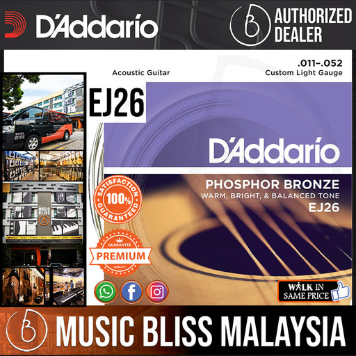 D'Addario EJ26 Phosphor Bronze Custom Light Acoustic Strings-.011-.052 - Music Bliss Malaysia