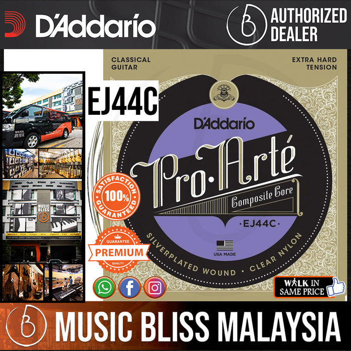 D'Addario EJ44C Pro-Arté Composite Classical Strings, Extra-Hard Tension .029-.047 - Music Bliss Malaysia