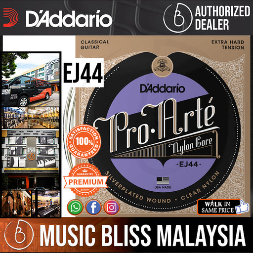 D'Addario EJ44 Pro-Arte Classical Guitar Strings - Extra Hard Tension .029-.045 - Music Bliss Malaysia