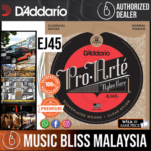 D'Addario EJ45 Pro-Arte Nylon Classical Strings, Normal Tension - Music Bliss Malaysia