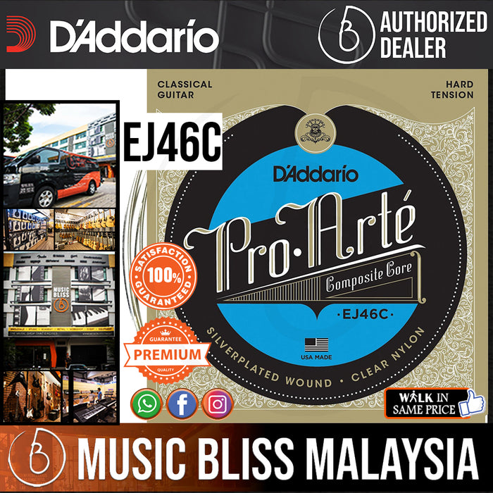 D'Addario EJ46C Pro-Arte Composite Classical Strings, Hard Tension - Music Bliss Malaysia