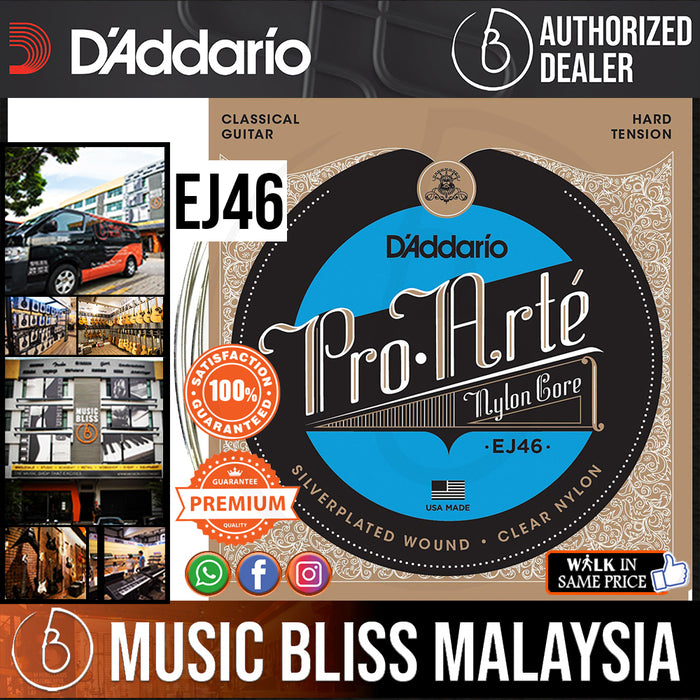 D'Addario EJ46 Pro-Arté Nylon Classical Strings, Hard Tension - Music Bliss Malaysia
