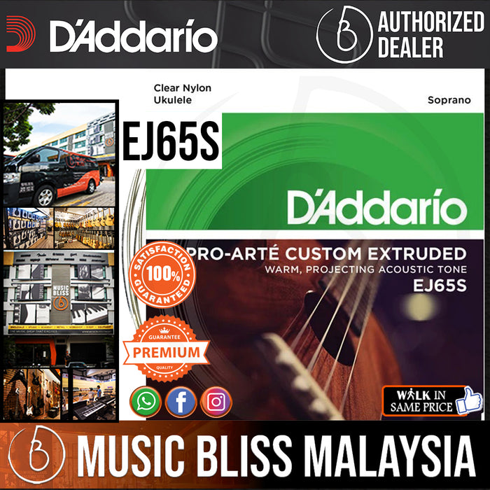 D'Addario EJ65S Pro-Arte Custom Extruded Ukulele Strings - .024-.034 Soprano - Music Bliss Malaysia