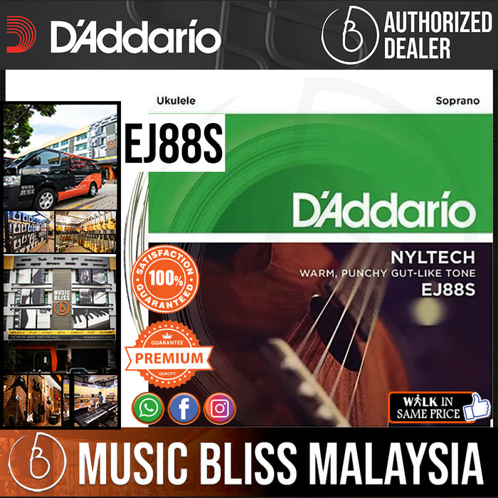 D'Addario EJ88S Nyltech Natural Nylon Ukulele Strings - Soprano - Music Bliss Malaysia