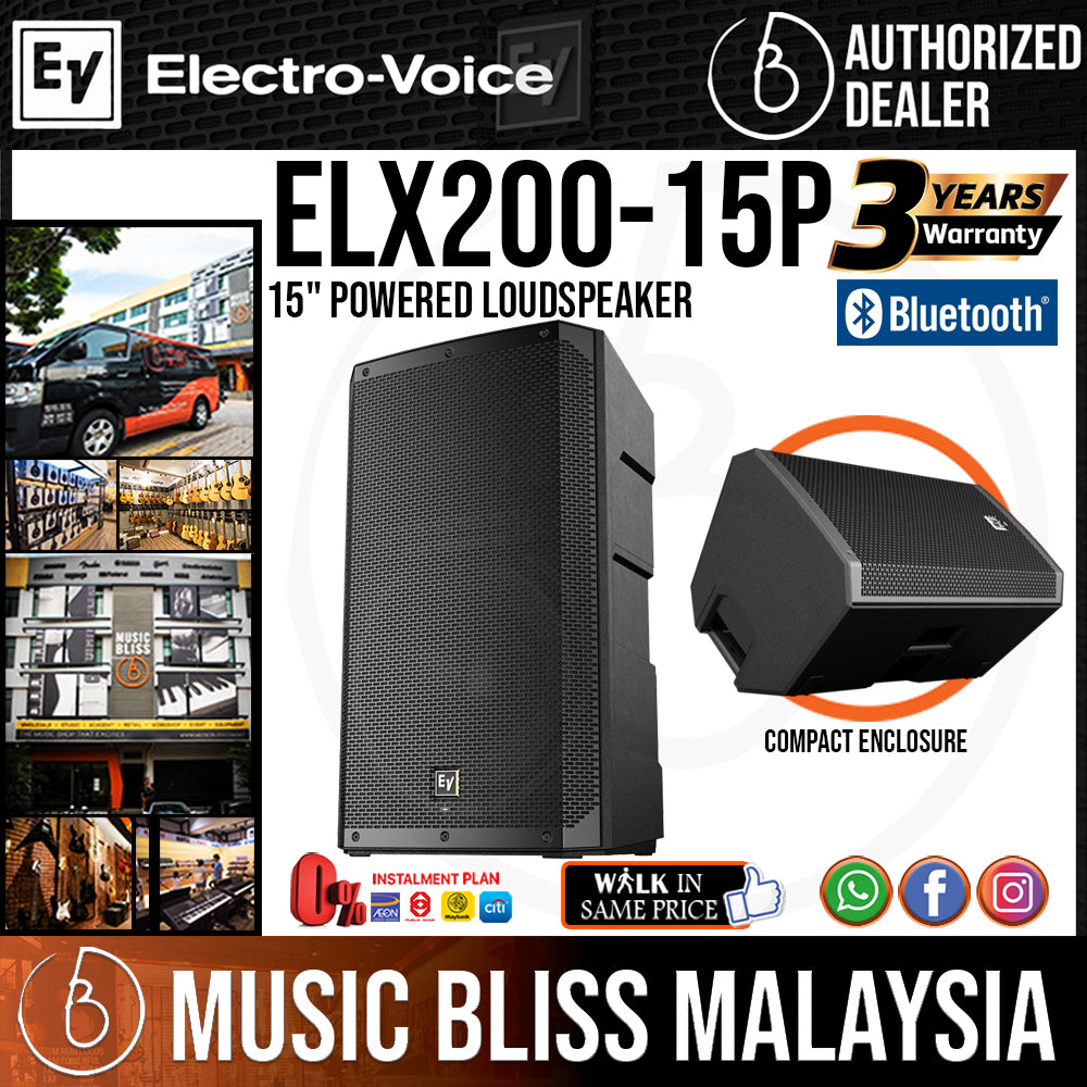 """EV Electro-Voice ELX200-15P 1200W 15"""" Powered Speaker with FREE Shure SV100 Mic and Speaker Stand (Electro Voice ELX200 15P) *Everyday Low Prices Promotion* - Music Bliss Malaysia"""