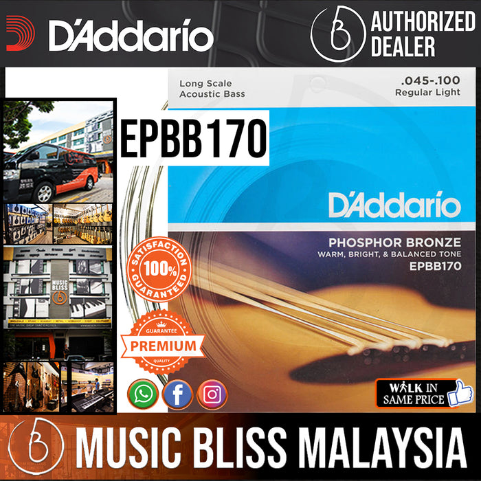 D'Addario EPBB170 Phosphor Bronze Acoustic Bass Strings - .045-.100 - Music Bliss Malaysia