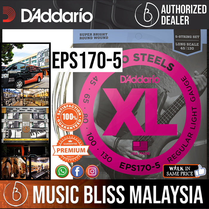 D'Addario EPS170-5 ProSteels 5-String Long Scale Bass Strings - .045-.130 Light - Music Bliss Malaysia