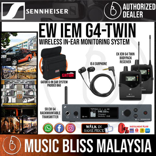 Sennheiser EW IEM G4-TWIN Wireless In-Ear Monitoring System with Gator G-IN EAR SYSTEM Padded Bag *Price Match Promotion* - Music Bliss Malaysia
