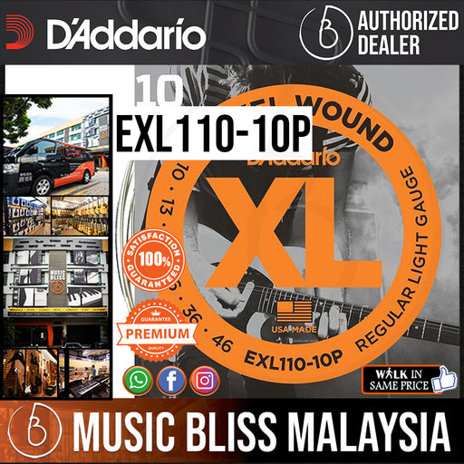 D'Addario EXL110 Nickel Wound Electric Strings -.010-.046 Regular Light 10-Pack