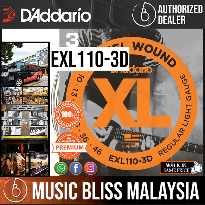 D'Addario EXL110-3D Nickel Wound Electric Strings -.010-.046 Regular Light 3-Pack - Music Bliss Malaysia